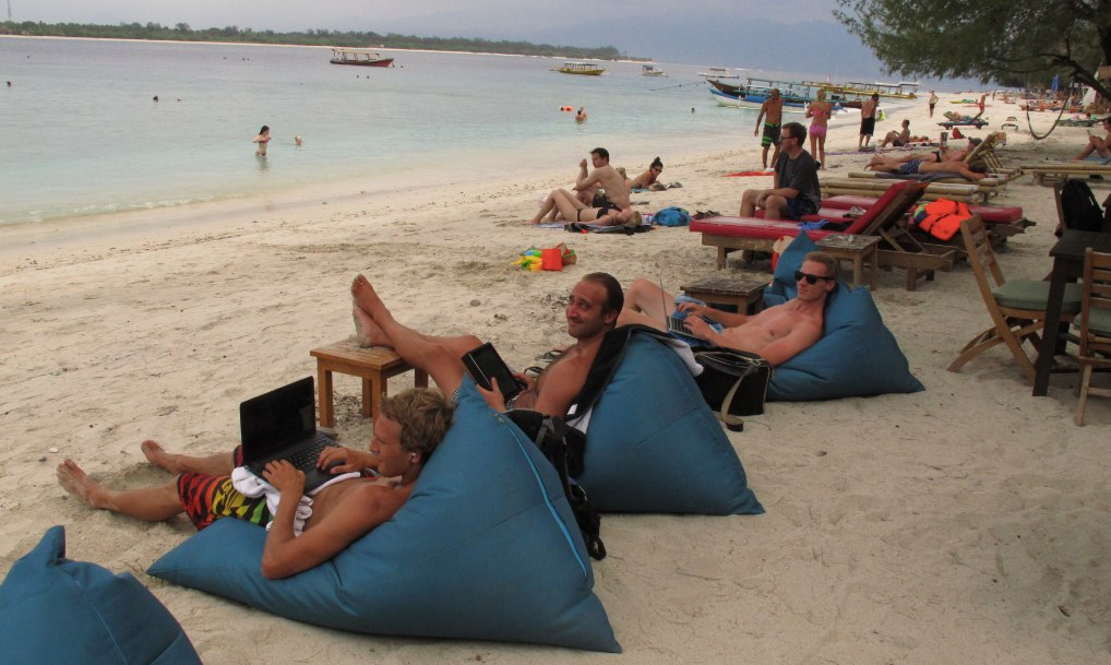 coworking on the white sand beaches of Gilli island